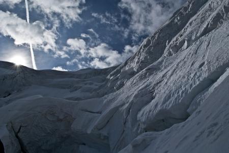 serac: trift glacier climbing weissmies in switzerland
