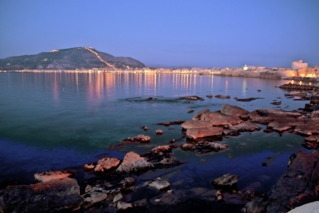 trapani: coast of trapani at dusk