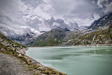 Saas Fee: lake of mattmark in switzerland