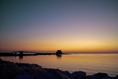 trapani: sunset on the beach of trapani
