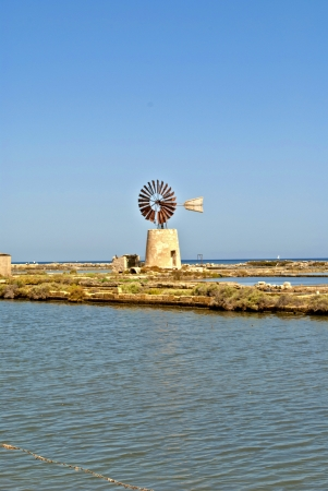 trapani: wind mill in a saltern of trapani