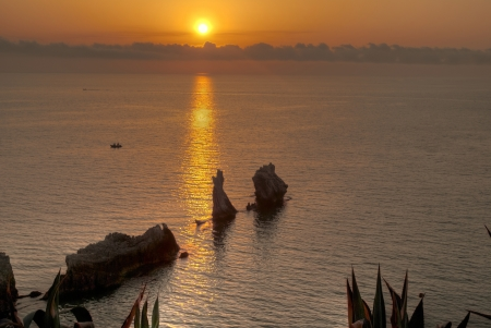 sunset near terrasini in sicily photo