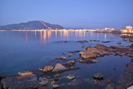 trapani: the coast of trapani at dusk