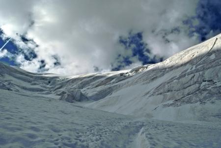 crevasse: trift glacier climbing weissmies in switzerland