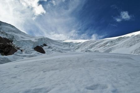 Saas Fee: trift icefall climbing Weissmies in Switzerland Stock Photo