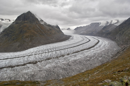 swiss alps: aletsch glacier in swiss alps Stock Photo