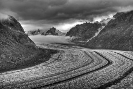 aletsch glacier in swiss alps photo