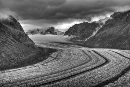 aletsch: aletsch glacier in swiss alps Stock Photo