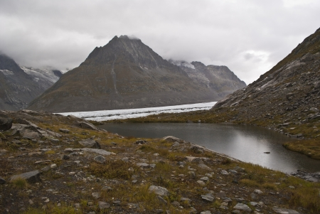 aletsch: small lake near the aletsch glacier