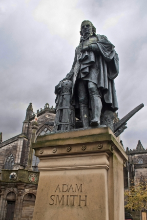 mile: adam smith monument on royal mile in edinburgh Stock Photo