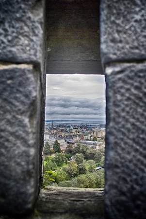 loophole: view of edinburgh from a loophole of the castle