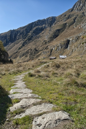 aletsch: track in swiss alps during autumn