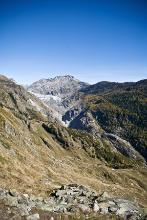 swiss alps: aletsch glacier in swiss alps during autumn Stock Photo