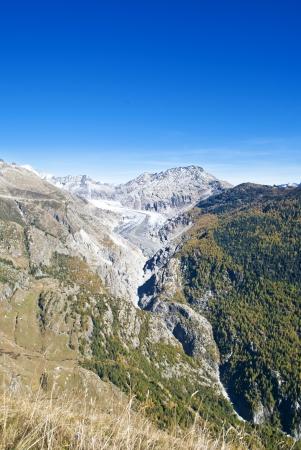 aletsch: aletsch glacier in swiss alps during autumn Stock Photo