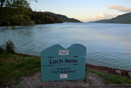 ness: sign board of loch ness in fort augusts