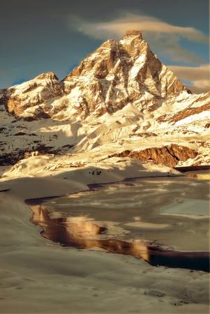 view of matterhorn during winter photo