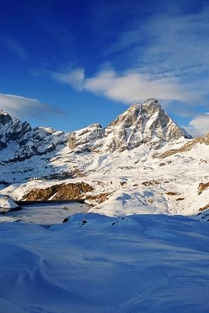 aosta: view of matterhorn during winter Stock Photo