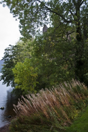 loch ness: park of the urquhart castle on lake of loch ness