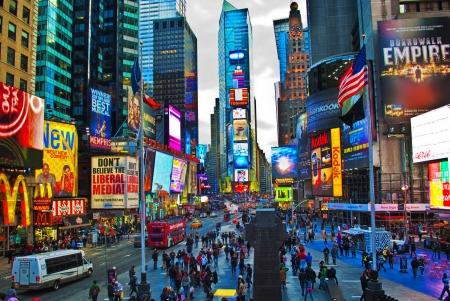 times square in new york city at dusk 免版税图像 - 24245656