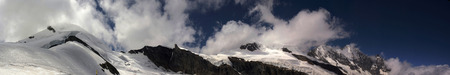 Saas Fee: view of mischabel ridge in swiss alps