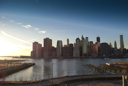 heights: manhattan skyline from brooklyn heights at dusk
