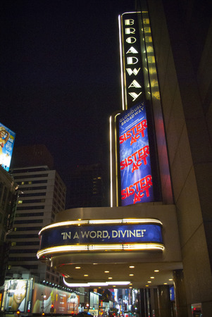 theatre entrance in broadway in new york city Editorial