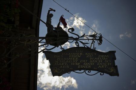 matrei: shop signboard in the village of matrei am brenner