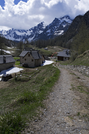 roof ridge: little village of crampiolo in alpe devero
