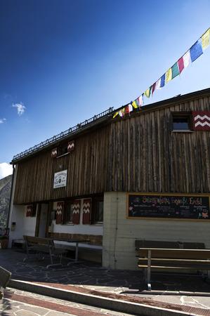 tibetan house: sulzenau hut in stubaital in austria Stock Photo
