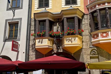 innsbruck: facade of a palace in innsbruck