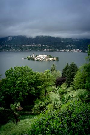 orta: landscape of orta lake in italy Stock Photo