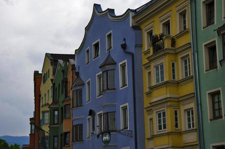 innsbruck: facade of coloured buildings in innsbruck Stock Photo