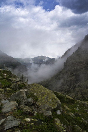 swiss alps: mountains before storm in swiss alps