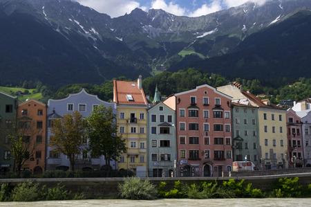 innsbruck: coloured houses in innsbruck Stock Photo