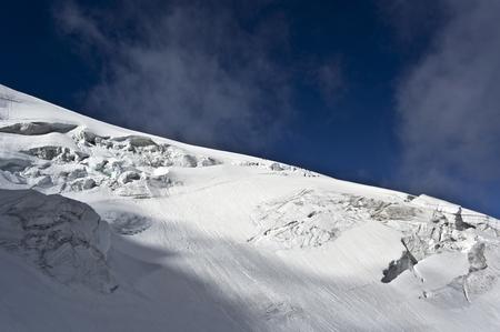swiss alps: trift glacier climbing weissmies in swiss alps Stock Photo
