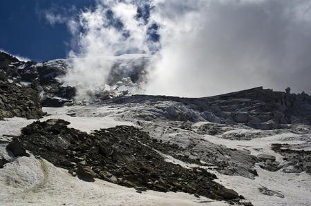 Saas Fee: trift glacier climbing weissmies in swiss alps Stock Photo