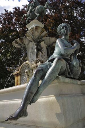 innsbruck: baroque statue of a fountain in innsbruck