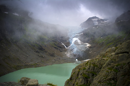 crevasse: view of lake and trift glacier