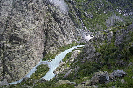 swiss alps: small creek in swiss alps