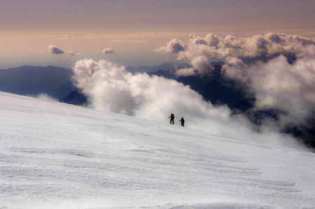 lys: alpinists on lys glacier in italy Stock Photo