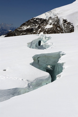 monte: big crevasse on lys glacier on monte rosa Stock Photo