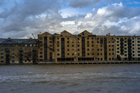 view of the metropolitan wharf from river thames