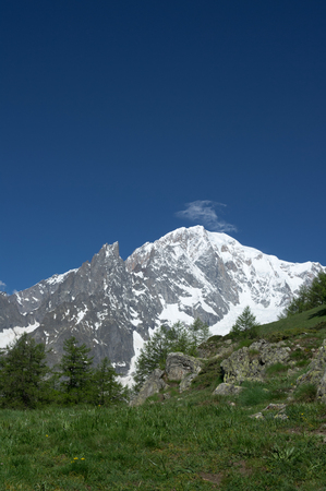 view of mont blanc from ferret valley