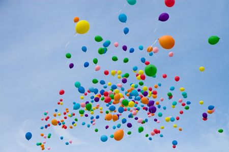 colored balloons on sky photo