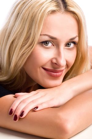closeup portrait of happy girl over white photo
