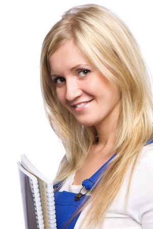 Portrait of friendly university student holding notebooks isolated over a white background photo