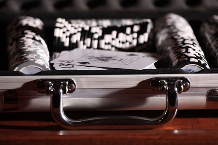 Gamble chips in an alluminium briefcase Stock Photo - 3840320