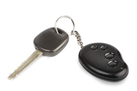 doorkey: Car key with remote control isolated over white background Stock Photo