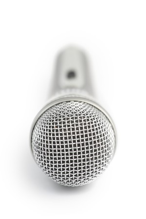 Microphone. Shallow DOF. Isolated over white background  photo
