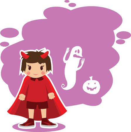 imp: flat illustration on theme of Halloween, a boy dressed as devil Illustration